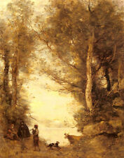 Oil painting Corot - Rancher The Flute Player in sunset landscape with cattes