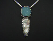 Baby Blue Agate Drusy. Fresh Water Pearl. Gorgeous Hand Made Pendant