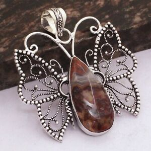"""Mexican Laguna Lace Agate Handmade Butterfly Pendant Jewelry 2.2"""" AP 47373"""