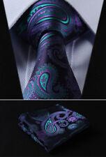 "Hisdern Men Tie Green Purple Paisley 3.4""Silk Necktie Handkerchief Set#TF4001G8S"