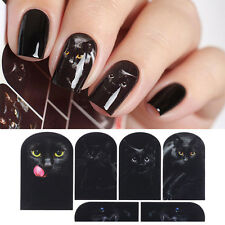 Nail Art Water Decals Mysterious Black Cat Theme Manicure Transfer Stickers DIY