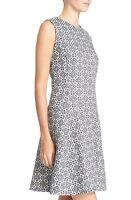 ** NWT Tory Burch Textured Burlap Geometric Print Wear Work Dress Navy 14 $395