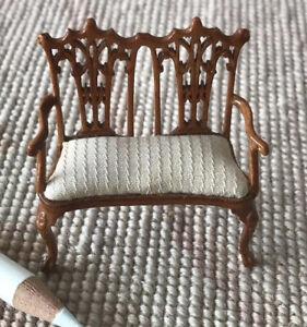 "Bespaq Walnut Arm Chair Love Seat Sofa Lounge HALF INCH 1:24  1/2"" Scale 4504"