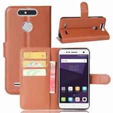 ZTE Blade V8 Mini Handy Tasche Klapptasche Flip Cover Case Schutz Buch TPU braun