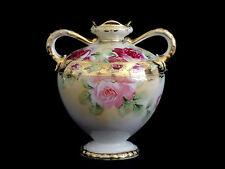 Vintage Antique Nippon 2 Handle Ornate Floral Vase Gold Trim Blue Maple Leaf