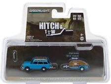 1961 VW T3 Squareback  Variant + Teardrop Trailer  Blue** Greenlight 1:64 *SALE*