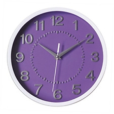"""Decor Silent Wall Clock 10"""" Purple Dial 3D Numbers Non-ticking Decorative Wall"""