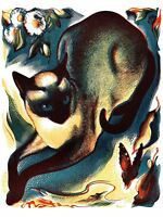 Paintings Animal Cat Butterfly Siamese Art Canvas Print