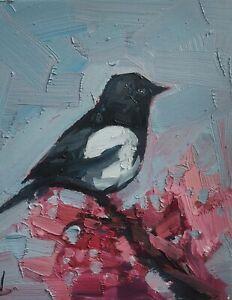 MAGPIE CHERRY BLOSSOM OIL PAINTING BY ARTIST VIVEK MANDALIA IMPRESSIONISM 12x10