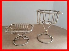 Vintage Bathroom Counter Accessories Wire Soap Dish Drink Cup Toothbrush Holder