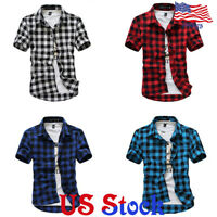Fashion Short Sleeve Plaid Button Men's Summer Casual Shirts Tops Tee Blouse