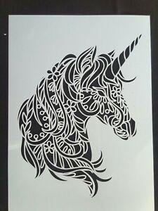 A4 Wall Stencil Reusable Template Unicorn Mandala Home Decor Mask Scrapbook #1