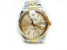 Rolex 16013 36mm Datejust 18K/SS Silver Tapestry Jubilee Bracelet Box and Papers