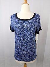 DKNY Sleepwear, Short Sleeve Geometric Printed Pajama Top Blue Multi Small #6130