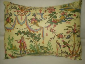 Colorful French Toile on Yellow Lumbar Decorative Accent Pillow Cover 12x15