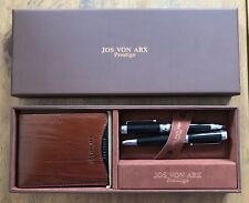 Men's Leather Wallet & 2 Pen Gift Set By Jos Von Arx Brand New RRP £60