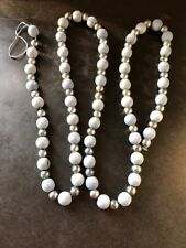 NEW 72 INCH SILVER & BLUE WOOD BEADED GARLAND