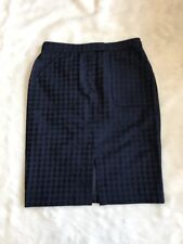 J Crew Collection Navy Blue Jaquard Dot Pencil Skirt Size 8