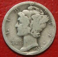 1920-D Mercury Dime , Circulated  , 90% Silver US Coin