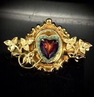 Antique Costume Brooch Pin Victorian Faux Turquoise Amethyst Paste Gold Gilt1900