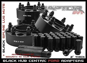 "Complete Ford F-150 Black 2"" Hub Centric Wheel Spacers 6x135 +24 Spline Lug Nuts"