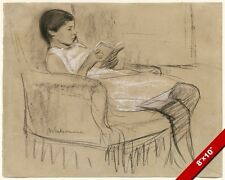 YOUNG GIRL WOMAN CHILD READING RELAXED IN A CHAIR PAINTING ART REAL CANVAS PRINT