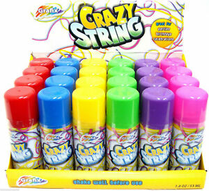 6 X Party Crazy Silly Strings Can Assorted Colour Party Colourful Spray Kids Fun