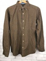 Woolrich Men's 100% Cotton Brown Plaid Long Sleeve Button Up Shirt M