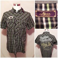 New AKOO Indiana Hills Rd Camp Ground Novelty Plaid Button Front Shirt Size L