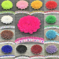 1/3/5yard 20mm 2-Layer Organza Lace Flower Gathered Pleated Sequined Sewing Trim