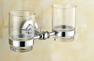 A pair Glass Cup Bathroom Wall Mounted Silver Chrome Toothbrush Holder 2ba807