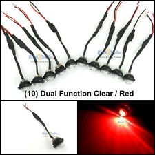 """(10) Clear / Red LED 3/4"""" grommet Light marker trailer Dual function high & low"""