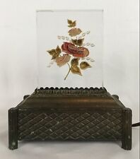 Vintage Art Deco Red Roses Lucite Table Boudoir Lamp Night Light Metal Base
