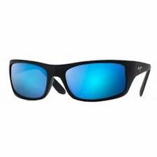 Maui Jim Peahi Black Matte Rubber / Blue Hawaii Wrap Polarized Sunglasses