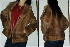 VINTAGE 60s LUXURY MINK JACKET S GLOSSY real FUR STROLLER coat BEIGE Autumn Haze