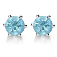 Melina Jewelry Lady Round Cut Aquamarine White Gold Plated Stud Earrings Earing
