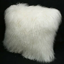 "Mongolian Long Curly Wool Sheepskin Cushion 45x45cm/ 18"" Pillow & Cushion Inner"