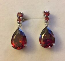 p 21 Large pear drop red garnet dangle earrings Swarovski elements Plum UK BOXED