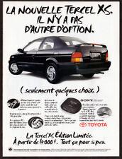 1995 TOYOTA Tercel XS Vintage Original Print AD - Black car photo French Canada