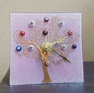 BEAUTIFUL PINK Murano Tree MILLEFIORI Pieces Glass Clock 1 AA Battery EXCL COND