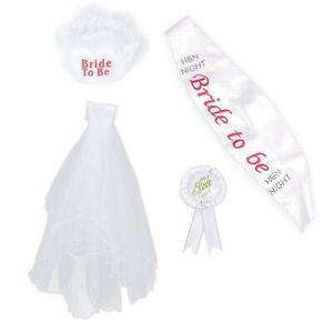 BRIDE TO BE 4PC SET VEIL SASH ROSETTE BADGE & GARTER HEN PARTY KIT ACCESSORIES