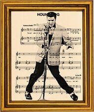 Elivs music sheet art print with Houndog lyrics on beige metallic premium paper