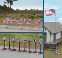 WALTHERS SCENEMASTER HO SCALE AMERICAN FLAGS/MAILBOXES 949-4166