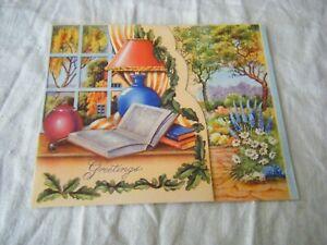 Vintage Greetings Card, Birthday, Lamp, Books, Garden