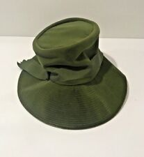Vintage Lady's Hat-Green Felt With Ribbon With Tag and Original Lansburgh's Box