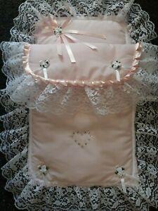Dolls Pram Set Pink / White with Lace & SWAROVSKI Crystals