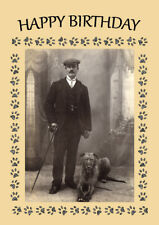 LURCHER MAN AND DOG BIRTHDAY GREETINGS NOTE CARD