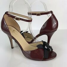 Kate Spade Italy Heels 7.5 Patent Leather Maroon Black Floral Detail Ankle Strap