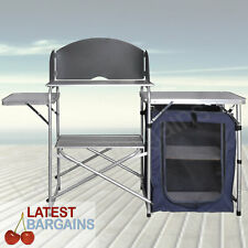 Folding Camping Kitchen Picnic Aluminium Storage Cupboard Cooking Table Outdoor