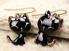 Fashion Gift Retro Style Cute Enamel Black Cat Dangle Earring Ear Rings*~*